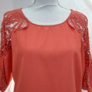 a.n.a. Women's Pink Blouse Crochet Shoulders